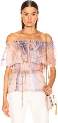 Raquel Allegra Ruffle Top in Peach Tie Dye | FWRD
