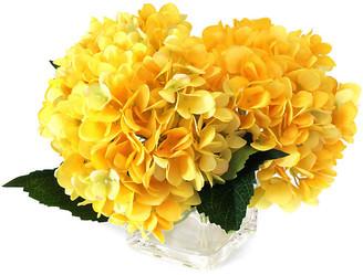 "One Kings Lane 12"" Hydrangea Arrangement with Cube Vase - Faux - arrangement, yellow/green; vessel, clear"