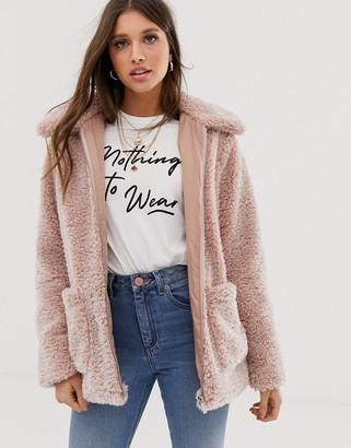 New Look borg coat in pink