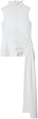 Tibi Draped Panel Structured Crepe Top