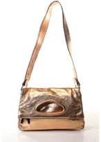 Barbara Bui Copper Metallic Leather Silver Tone Flap Shoulder Handbag
