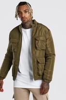 boohoo Mens Green 4 Pocket Padded Funnel Neck Jacket, Green