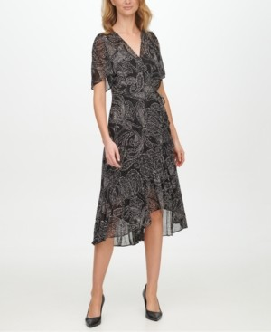 Calvin Klein Flutter-Sleeve Faux-Wrap Dress
