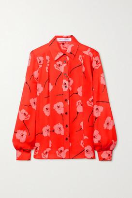 Carolina Herrera Floral-print Silk-georgette Shirt - Bright orange