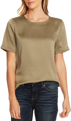 Vince Camuto Short Sleeve Hammered Satin Blouse
