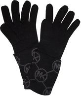 Michael Kors Women's Circle Logo Knit Cuffed Gloves, Black / Derby Grey