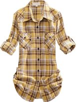 OCHENTA Women's Mid Long Style Roll Up Sleeve Plaid Flannel Shirt Label 8XL