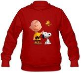 StaBe hoodies StaBe Women's Peanuts Movie 2015 Snoopy Long Sleeve Hoodies Sweatshirt Black