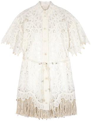 Zimmermann Wavelength ivory broderie anglaise shirt dress