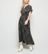 New Look Petite Satin Spot Pleated Midi Dress