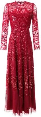 Needle & Thread ruffled neck sheer embellished gown