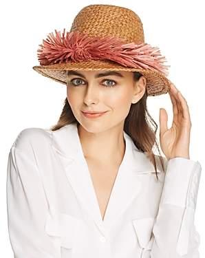 Gigi Burris Millinery Sunrise Raffia-Trim Straw Hat