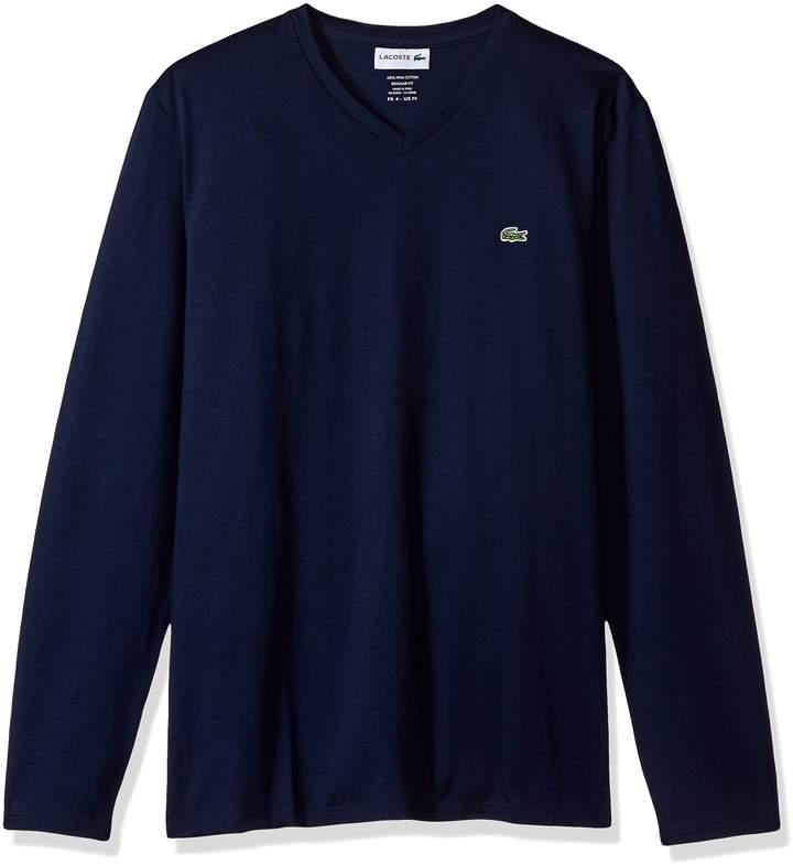 Lacoste Men's Long Sleeve Jersey Pima Reg Fit V Neck T-Shirt-TH6711