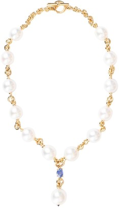 Verdura 18kt yellow gold pearl and sapphire Y necklace