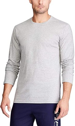 Polo Ralph Lauren Enzyme Washed Long Sleeve Crew (Andover Heather/Cruise Navy Necktape/White Pony Print) Men's T Shirt