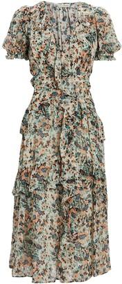 Ulla Johnson Delphine Lurex Floral Midi Dress
