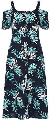 Yumi Curves Palm Print Cold Shoulder Dress