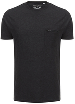 Brave Soul Men's Faustian Zip Pocket T-Shirt - Dark Charcoal