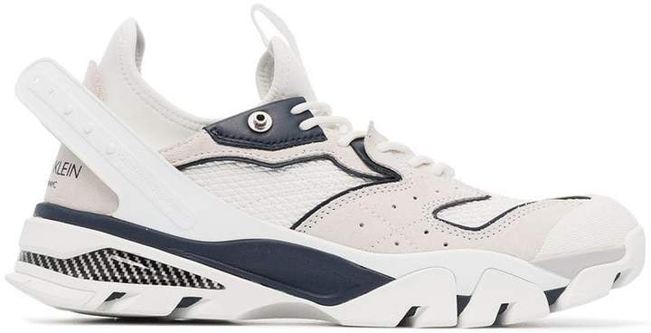 Calvin Klein white and navy blue carlos 10 mesh and leather sneakers