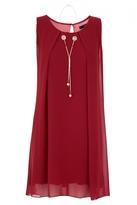 Quiz Wine Chiffon Necklace Tunic Dress
