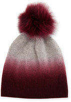 Sofia Cashmere Ribbed Dip-Dyed Cashmere Beanie Hat, Burgundy