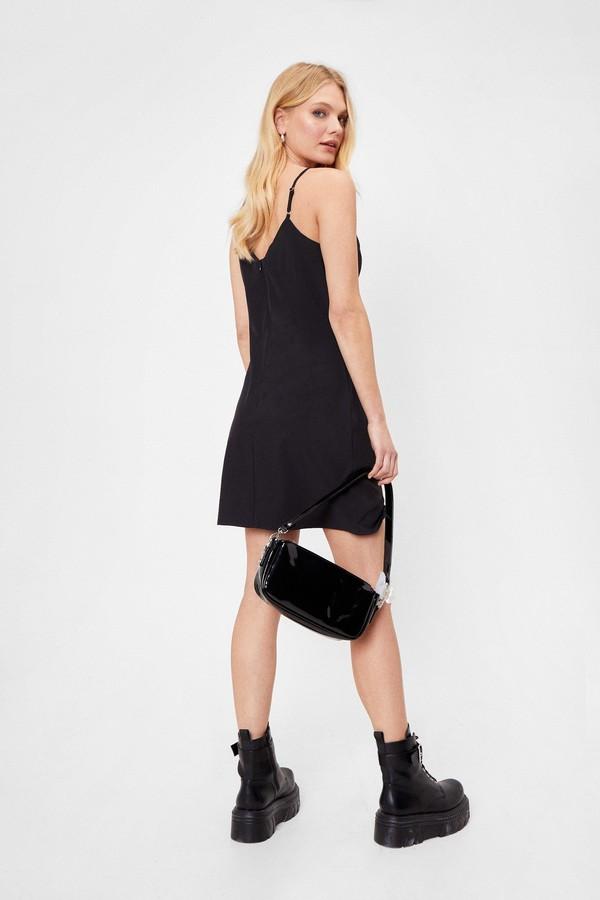 Thumbnail for your product : Nasty Gal Womens Spaghetti Strap Double Slit Mini Dress - Black - 8