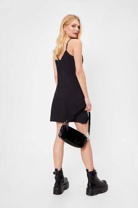 Nasty Gal Womens Spaghetti Strap Double Slit Mini Dress - Black - 8