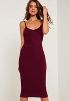 Missguided Strappy Rib Midi Dress Burgundy