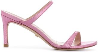 Stuart Weitzman Embossed Metallic Sandals