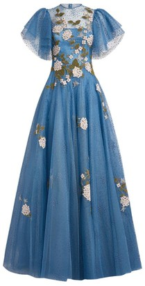 Costarellos Harla Embroidered Tulle Gown