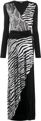 Just Cavalli Mix Animal-Print Wrap Dress