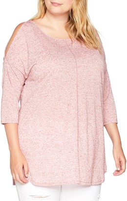 Simply Be Women's Linen Cold Shoulder Long Sleeve Top