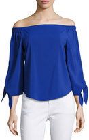 Joan Vass Tie-Sleeve Off-the-Shoulder Top