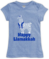 Urban Smalls Heather Blue 'Happy Llamakkah' Fitted Tee - Toddler & Girls