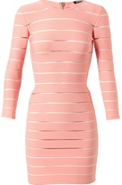 Balmain Ribbed Stretch-Jersey and Mesh Dress