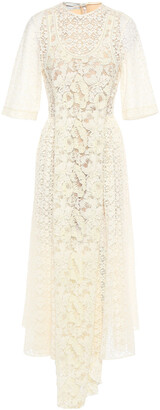 Stella McCartney Draped Embellished Lace Midi Dress