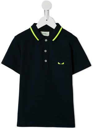 Fendi Kids Contrast Stitch Polo Shirt