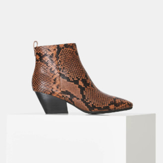 Shoe The Bear Brown Snake Print Leather Cleo Ankle Boot - 37