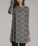 Nanu Women's Tunics Black - Black & White Geometric Long-Sleeve Tunic - Women & Plus