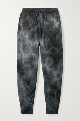 Nili Lotan Nolan Cropped Distressed Tie-dyed Cotton-jersey Track Pants - Gray
