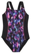 F&F Blurred Print Swimsuit, Girl's