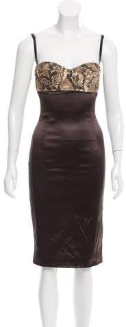 Dolce & Gabbana Python-Accented Sleeveless Dress