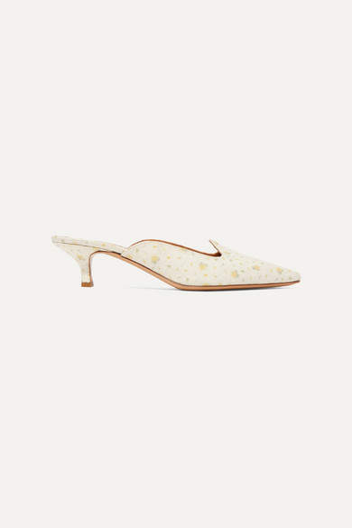 Off-White Le Monde Beryl - Sleeper Floral-print Linen-canvas Mules