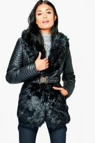 Boohoo Jessica Quilted Jacket With Faux Fur Collar