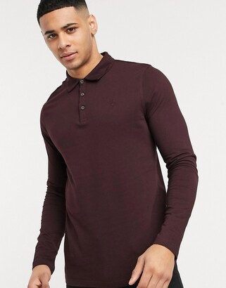 Burton Menswear long sleeve polo in burgundy