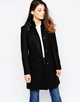 French Connection Platform Faux Fur Collar Felt Coat In Black
