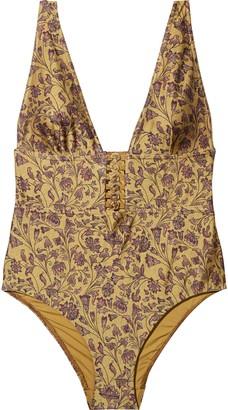 Zimmermann Juniper Button Floral-print Swimsuit
