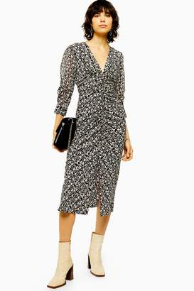 Topshop Womens Tall Idol Mix Fabric V Neck Ruched Midi Dress - Monochrome