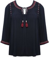 M&Co Embroidered peasant shirt