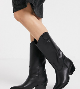 Depp wide fit tall leather western boot in black
